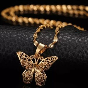 Jewelry - Gold Butterfly Necklace with Waterwave Chain